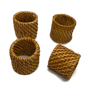 Rattan Napkin Ring Holders (Set of 4)