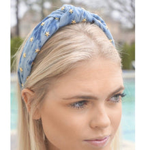 Load image into Gallery viewer, Chambray Star Studded Topknot