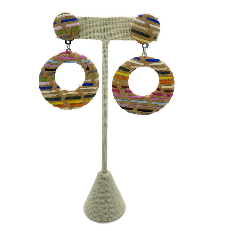 Multicolor Woven Circle Drop Earrings