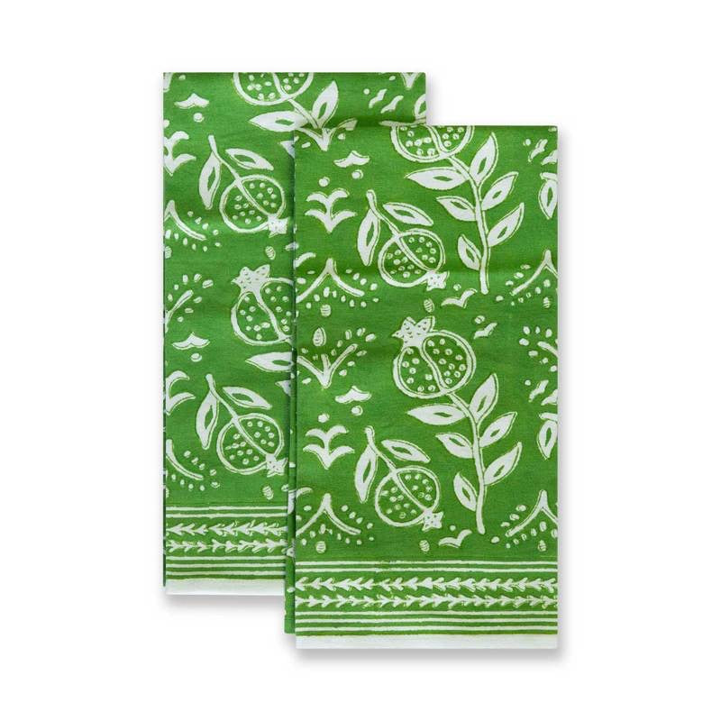 Pomegranate Green Tea Towels, Set of 2