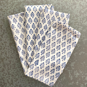 Neem Estate Blue Block Print Cotton Napkins (Sold individually)