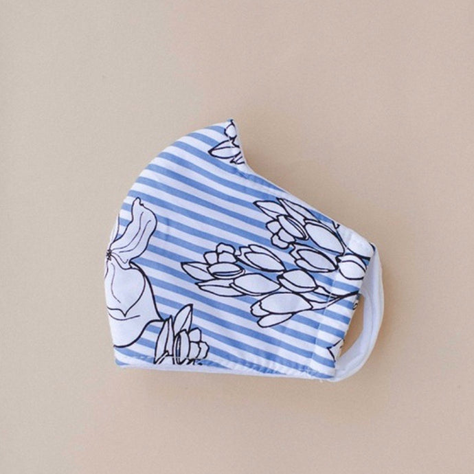 Striped Floral Cotton Face Mask - S/M