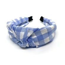 Load image into Gallery viewer, New Light Blue Gingham Topknot Headband