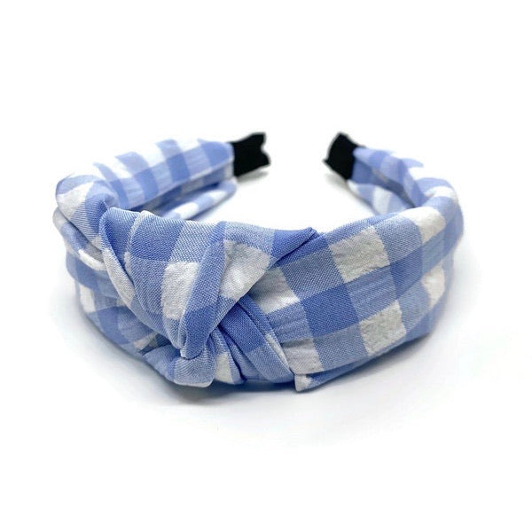 New Light Blue Gingham Topknot Headband