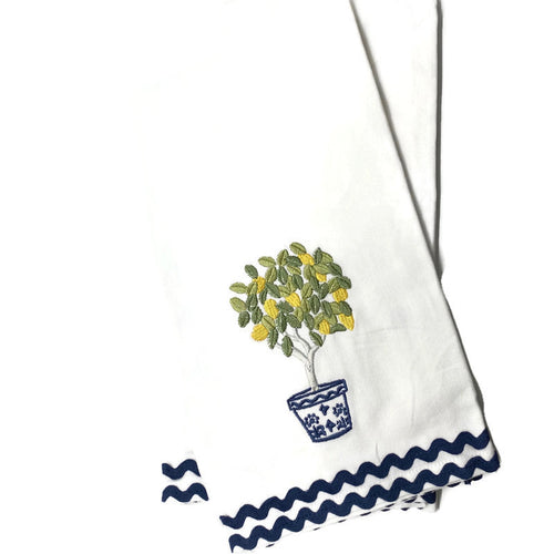 Embroidered Lemon Topiary with Ric Rac Trim Tea Towel, Set of 2