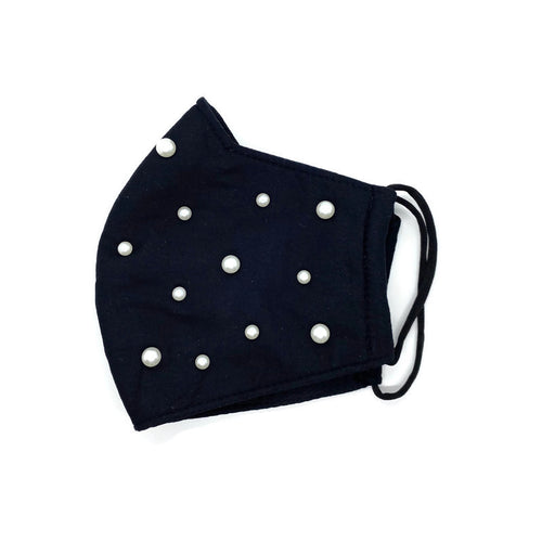 Black Cotton with Pearls Face Mask (One Size Fits All)