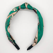 Load image into Gallery viewer, Green Silk Links Scarf Topknot Headband