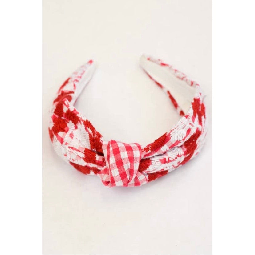 Red Gingham Embroidered Topknot Headband