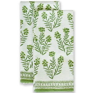 Phlox Green Tea Towels, Set of 2