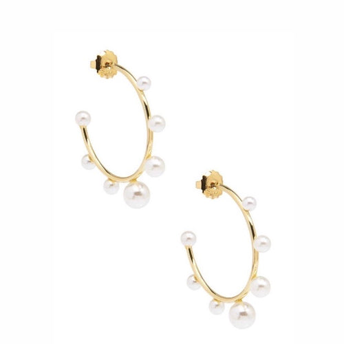 Decorative Pearl Hoop Earrings