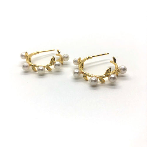 Pearl Leaf Accent Mini Hoop Earrings