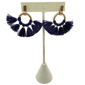 Tillie Tassel Earrings (Navy)