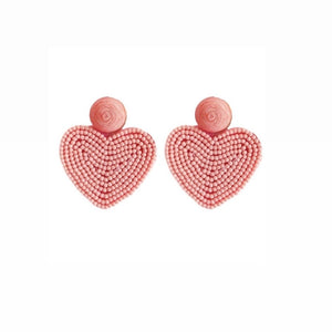 Pink Beaded Heart Earrings