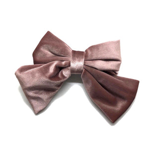 Blush Satin Bow Barrette