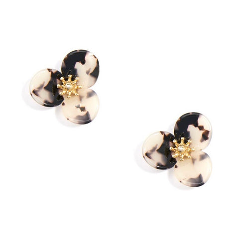 Tortoise Lotus Flower Earrings