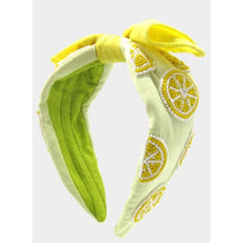 Load image into Gallery viewer, Lemon Bow Beaded Headband