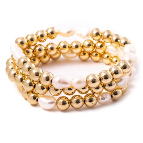 Gold Balls with Pearls Bracelet (Set of 3)