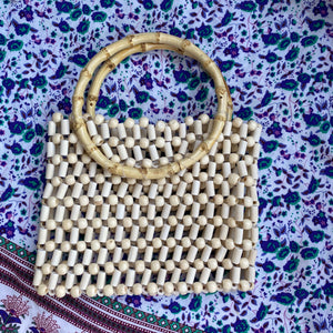 Bamboo Top Handle Ivory Beaded Clutch