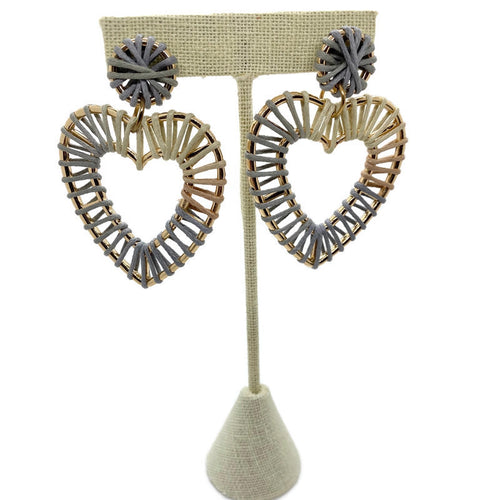 Gray Raffia Heart Earrings