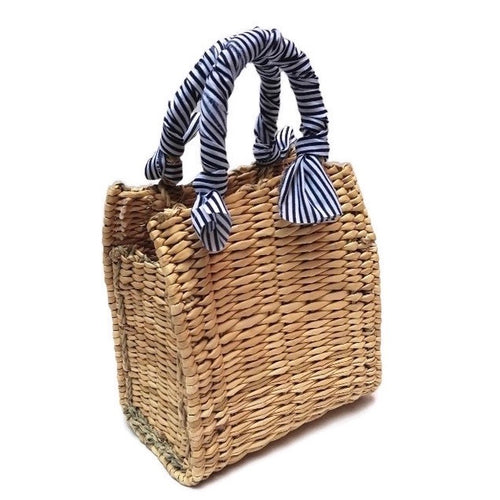 Basket Market Bag with Blue & White Striped Fabric Handle