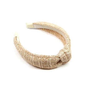 Natural Raffia with Gold Thread Topknot Headband