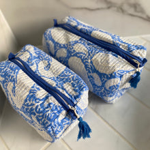 Load image into Gallery viewer, Block Print Cosmetic Bags - Paisley Blue (Set of 2)