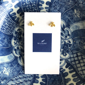Tiny Bee Gold Studs
