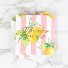 Load image into Gallery viewer, Drinks on Me Lemon Napkins - Set of 20
