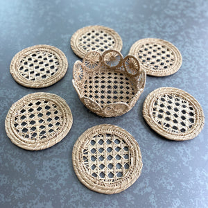 Straw Cane Coasters (Set of 6 with Case)