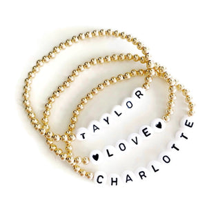 Gold Bracelet with Personalized Black Letter Beads