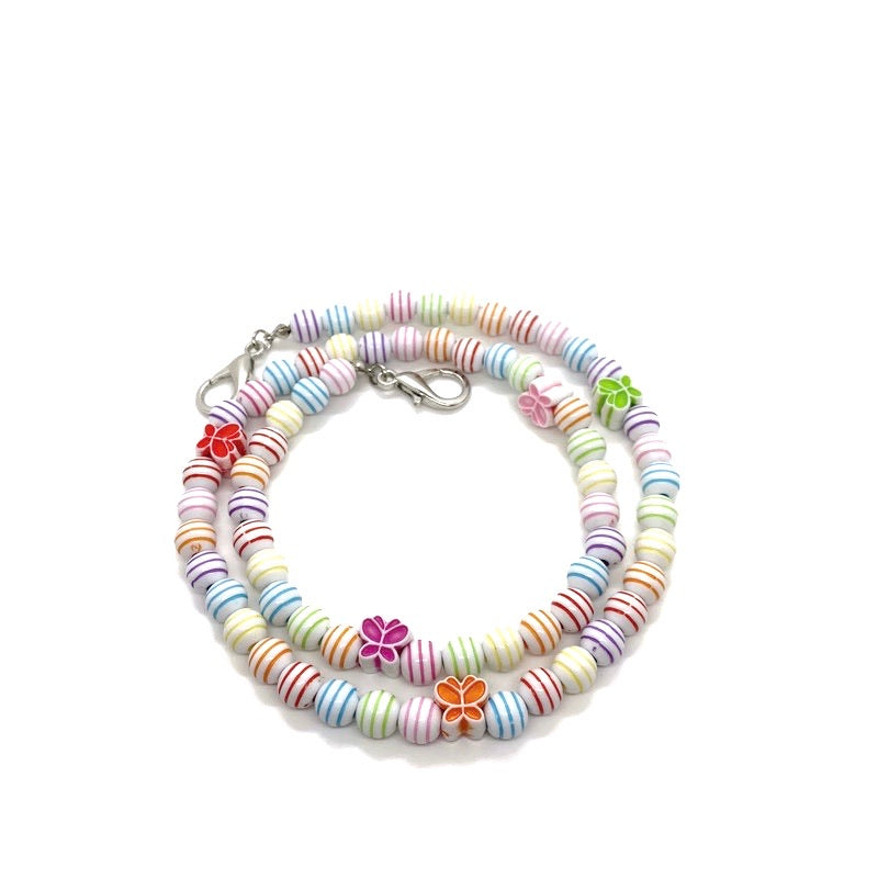 Butterfly Beaded Kids Face Mask Chain