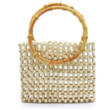 Load image into Gallery viewer, Bamboo Top Handle Ivory Beaded Clutch