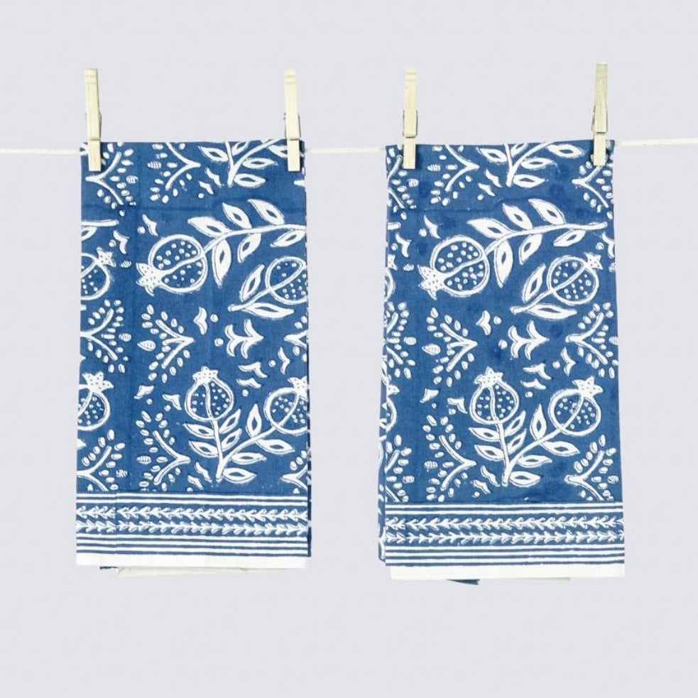 Pomegranate Blue Tea Towels - Set of 2