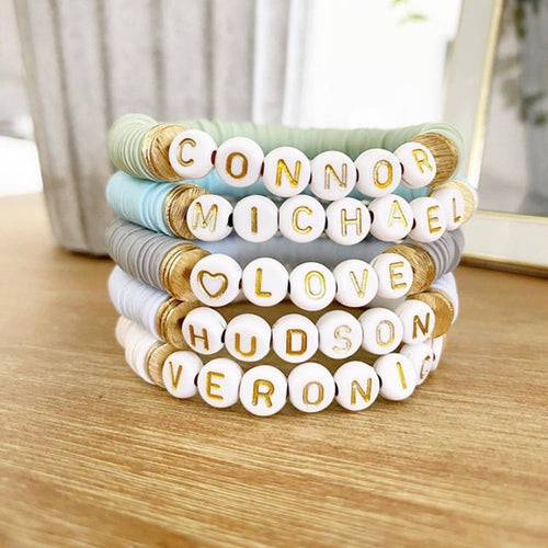 Personalized Heishi Antique Gold Letter Bracelets (14 color options)