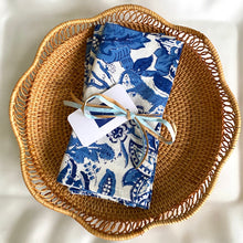 Load image into Gallery viewer, Anarkali Blue Block Print Cotton Napkins (Sold individually)