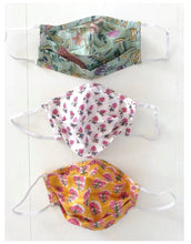 Load image into Gallery viewer, Pink Florals Block Print Face Masks (Set of 3)