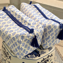Load image into Gallery viewer, Block Print Cosmetic Bags - Booti Blue (Set of 2)