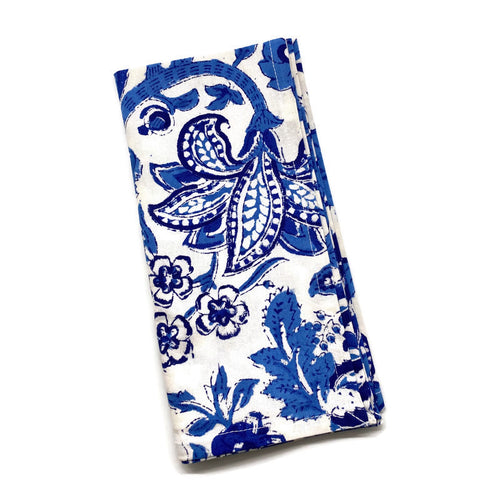 Anarkali Blue Block Print Cotton Napkins (Sold individually)