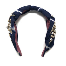 Load image into Gallery viewer, Navy Tie Dye Embellished Headband