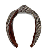 Load image into Gallery viewer, Maroon Glen Plaid Topknot Headband