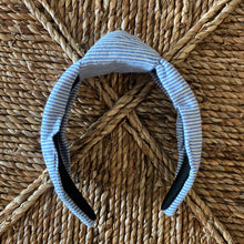 Load image into Gallery viewer, Blue Seersucker Topknot Headband