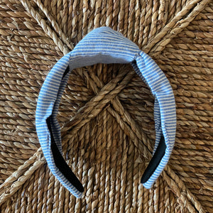 Blue Seersucker Topknot Headband