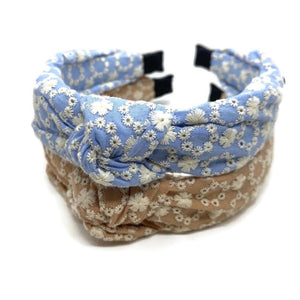Eyelet Daisy Topknot Headband (2 Color Options)