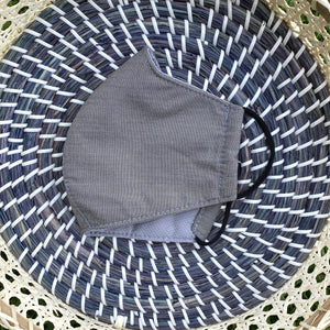 Light Grey Chambray Cotton Face Mask - M/L