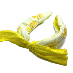 Lemon Bow Beaded Headband