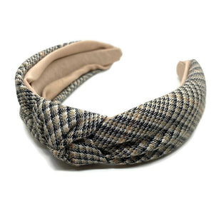 Tan Plaid Topknot Headband