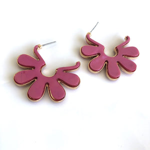 Flower Shell Earrings - Pink