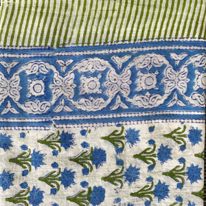 Blue Flower Blockprint Pareo Sarong