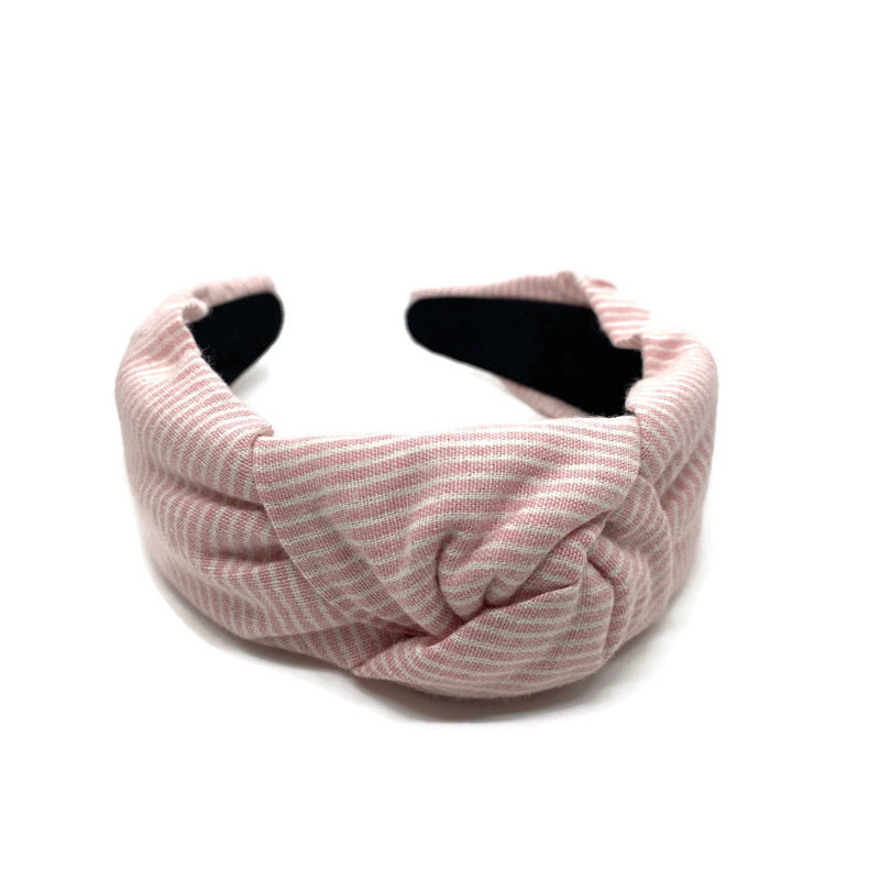 Pink Seersucker Topknot Headband