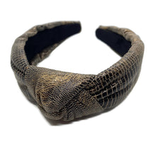 Load image into Gallery viewer, Snakeskin Bronze Topknot Headband
